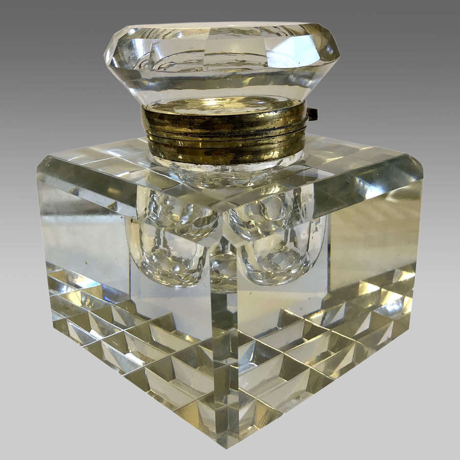 Glass inkwell on Aesthetic style walnut stand