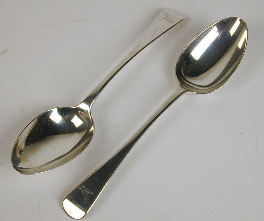 Vintage pair of silver Old English Pattern serving spoons