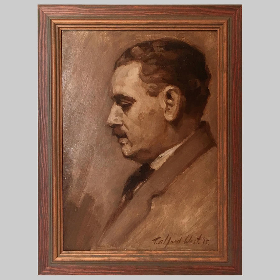 Studio portrait grisaille painting of Mr. Hodgson by T.Alfred West