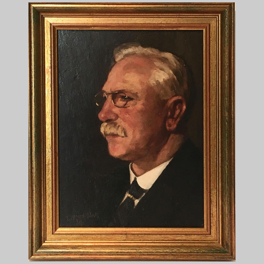 Studio portrait oil painting of Mr Pearce by T.Alfred West