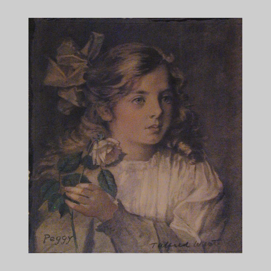 Studio pastel and watercolour portrait of Peggy by T.Alfred West