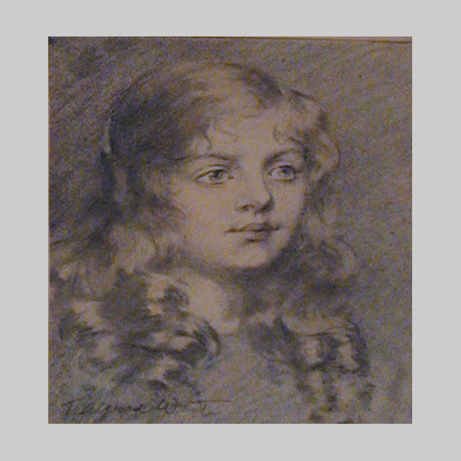 Studio pastel watercolour portrait of Marjorie by T.Alfred West