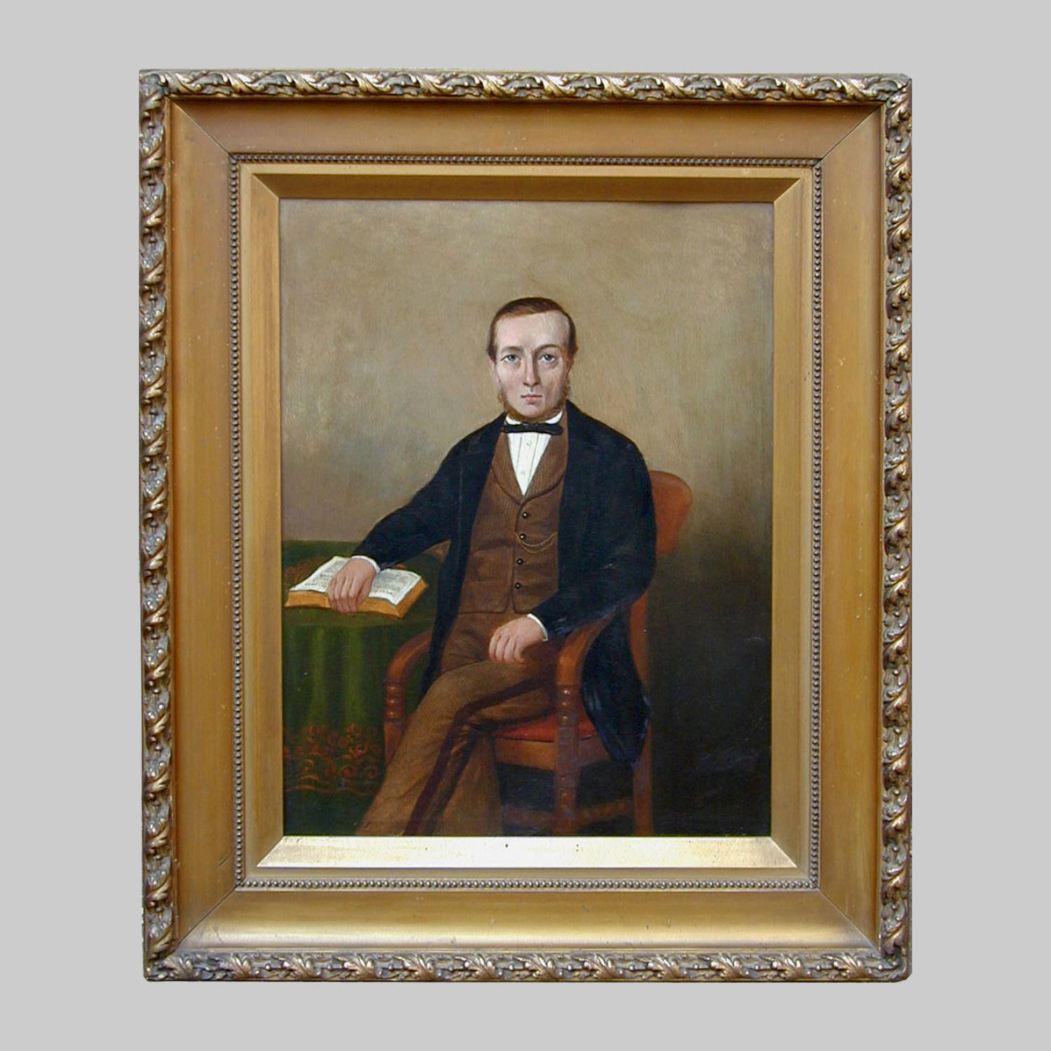 19th Primitive portrait oil painting of a gentleman by Percival Novice