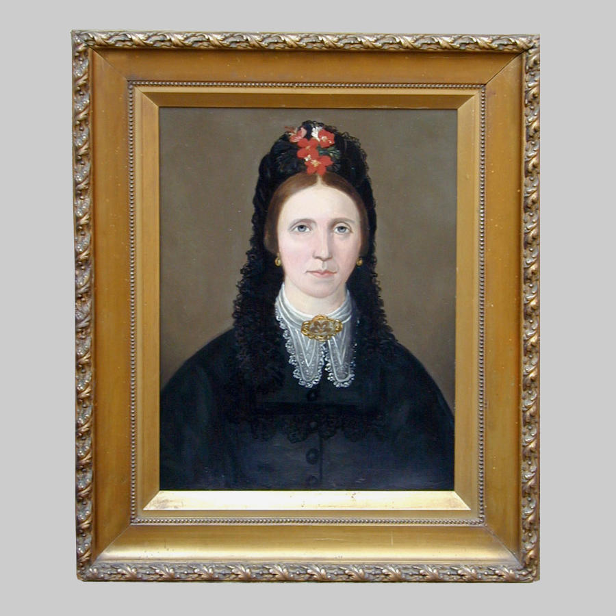 Primitive portrait oil painting of a lady by Percival Novice