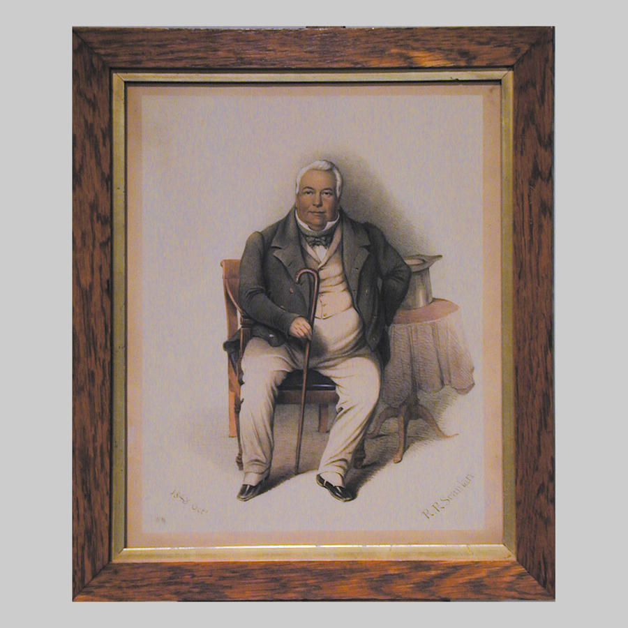 Irish watercolour portrait of a seated gentleman by R.R.Scanlan