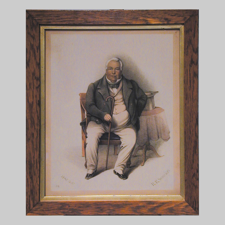 Irish watercolour portrait of a seated gentleman by R.R.Scanlan