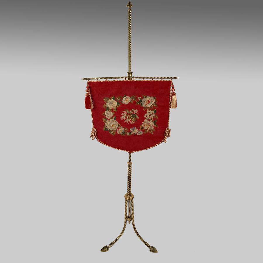 Victorian brass fire screen