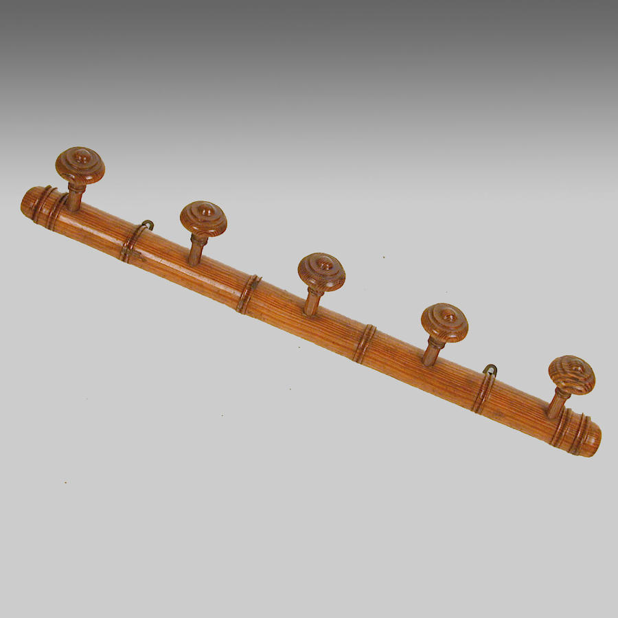 19th century polished pine hat and coat rack