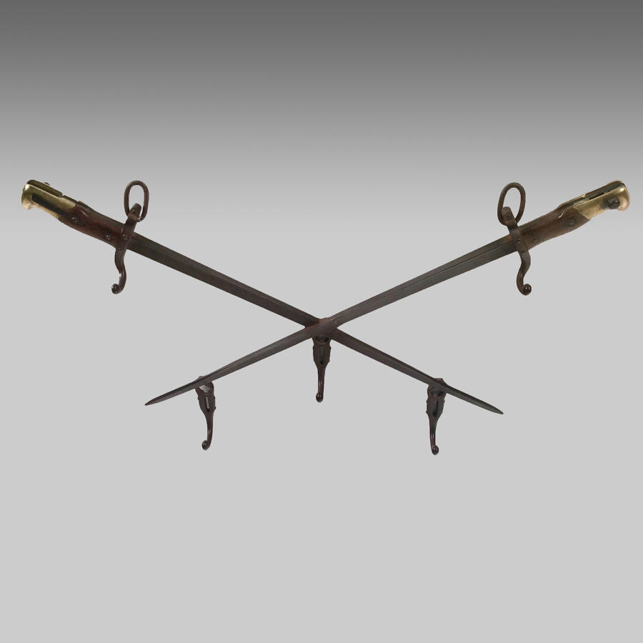19th century French bayonet coat hooks