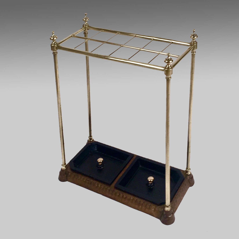 Victorian brass and cast iron umbrella stand