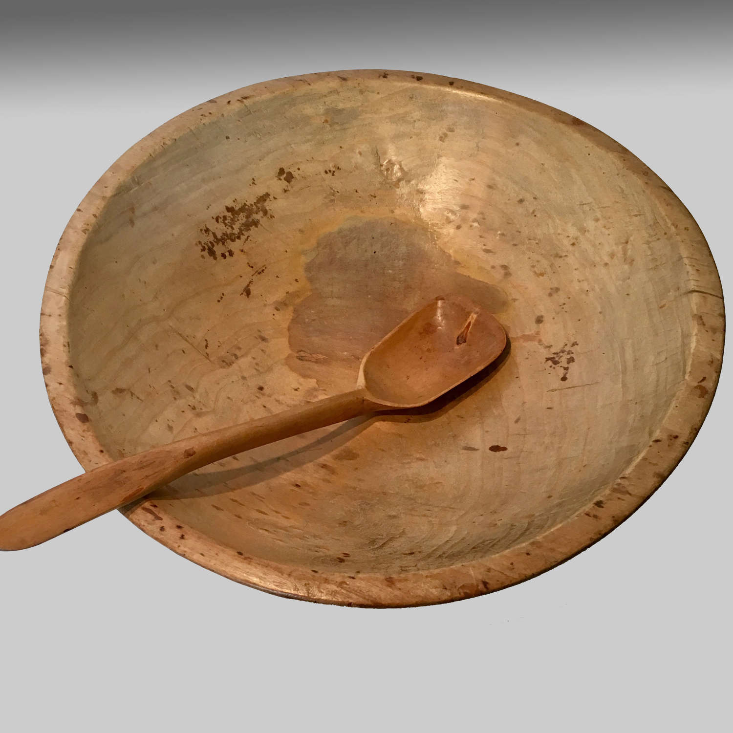 Antique sycamore dairy bowl and spoon