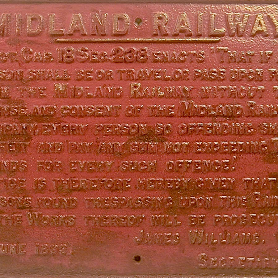 English cast iron Midland Railways sign