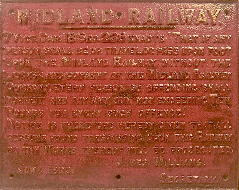 English cast iron Midland Railways sign