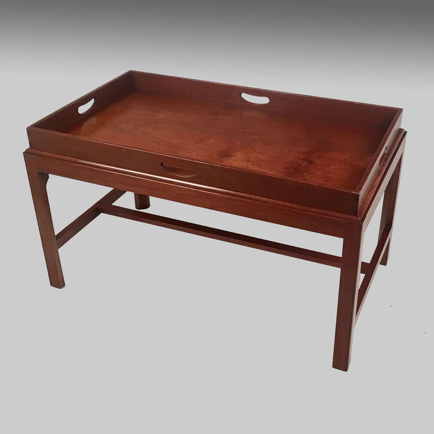 Antique Georgian walnut butler's tray on stand