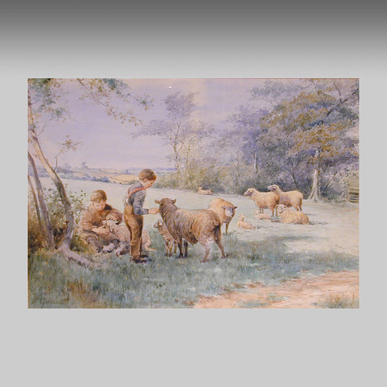 Watercolour landscape, Maidenhead, Berkshire by W.H.Goldsmith