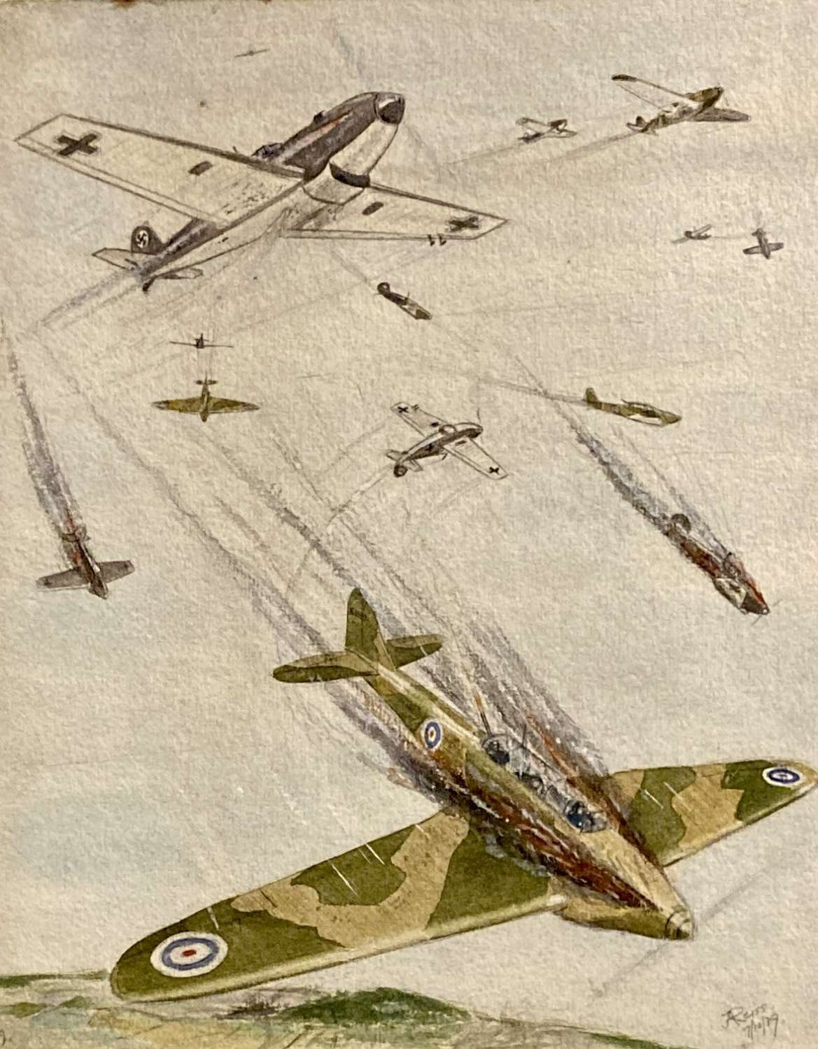 WW2 aerial combat drawing by Capt J A Reiss dated 7th October 1939