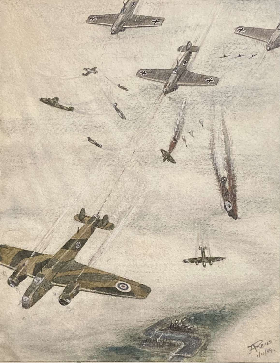 WW2 aerial combat drawing by Capt J A Reiss dated 1st October 1939
