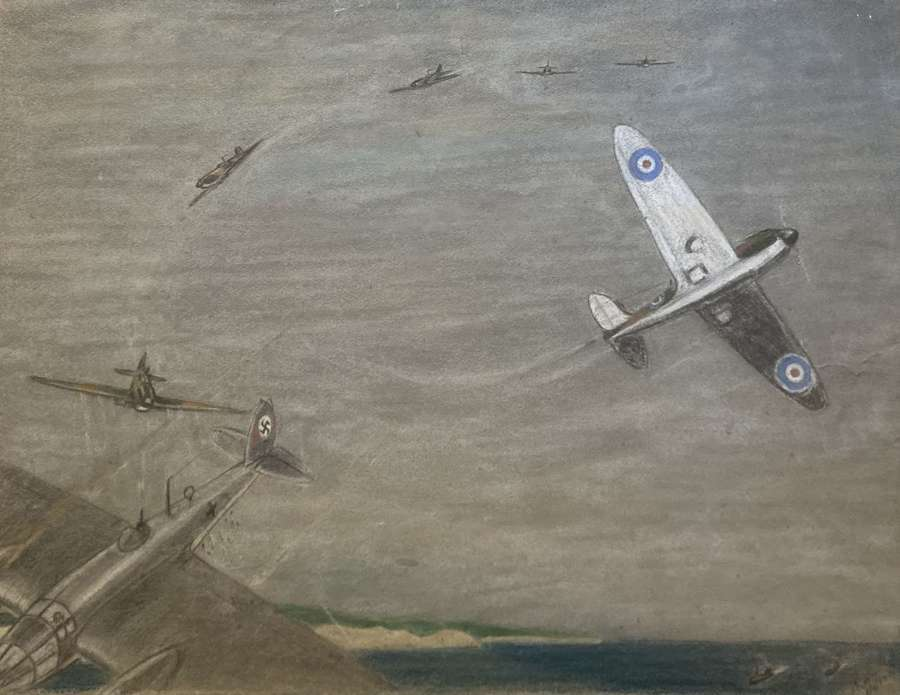 WW2 aerial combat drawing by Capt J A Reiss dated 6th Feb 1940