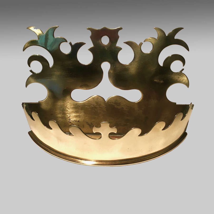 19th century brass 'crown' wall pocket
