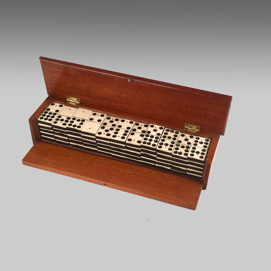 19th century antique mahogany cased set of dominoes