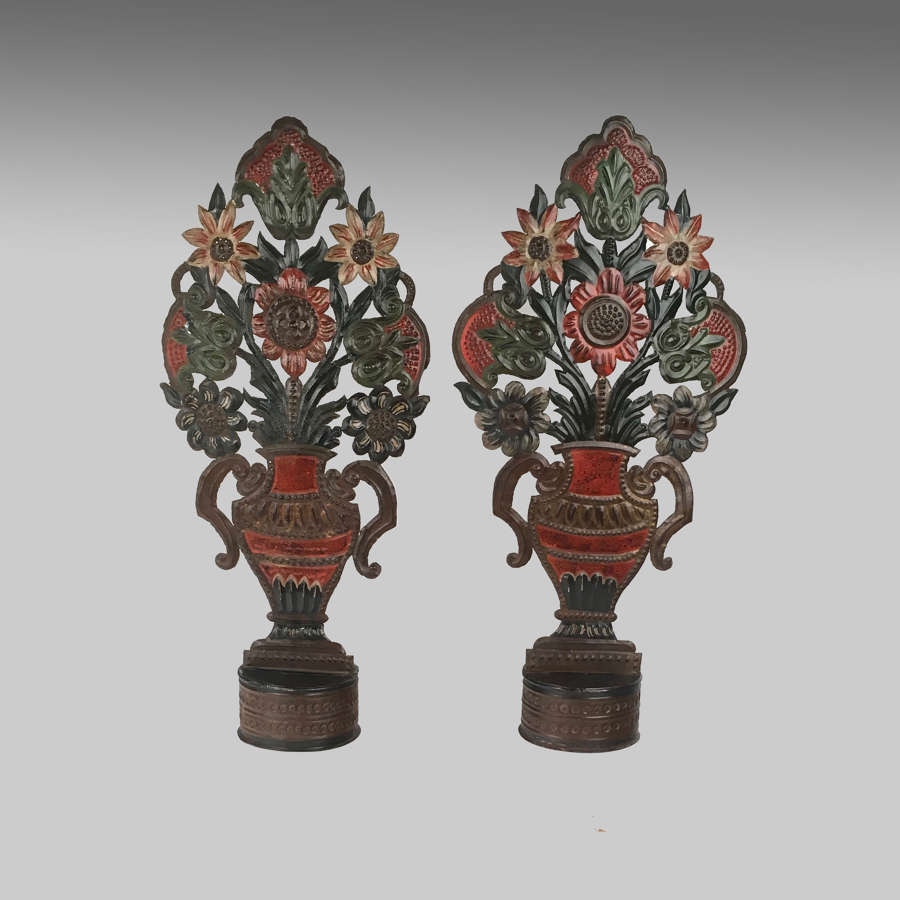 Pair 19th century antique polychrome toleware ornaments