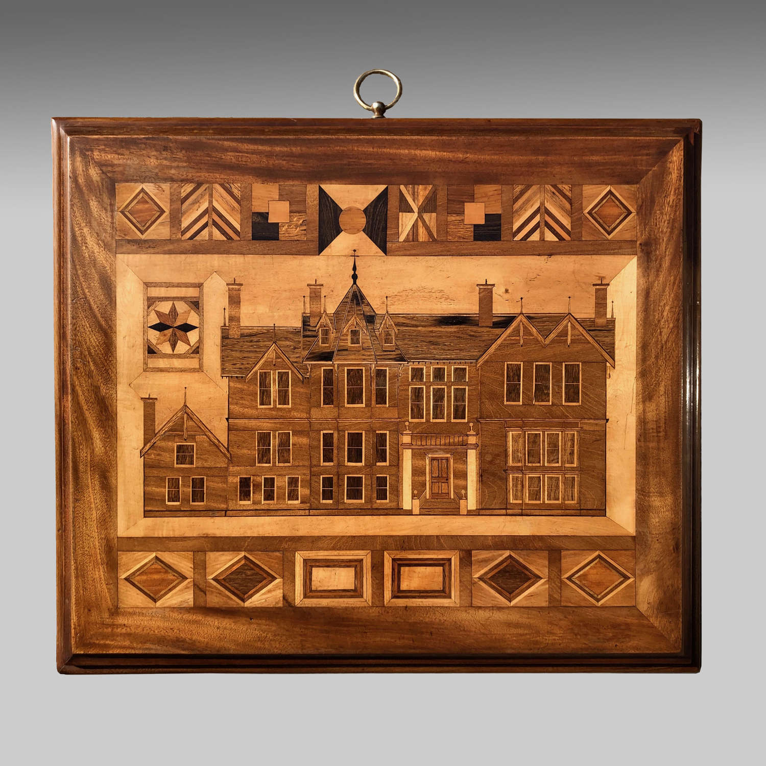 19th century Scottish parquetry picture of a house