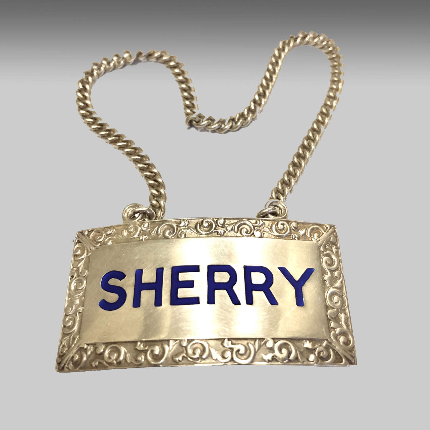 Vintage silver sherry decanter label