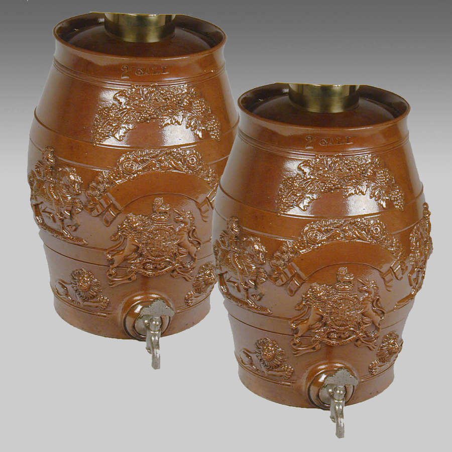 Pr. Derbyshire Brampton pottery salt-glazed stoneware spirit barrels