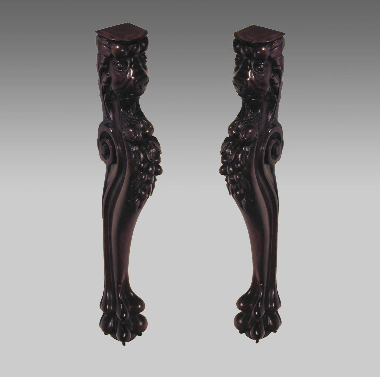 19th Century antique pair of mahogany console chimeras