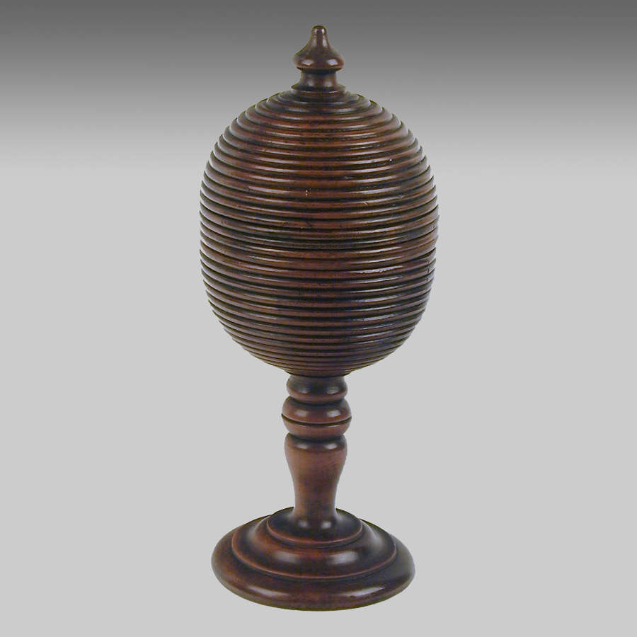 Antique fruitwood cup & cover 'Magical' trick game