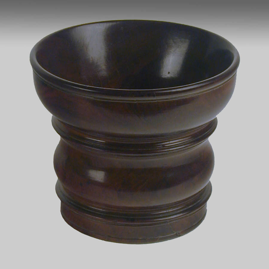 Large 17th century antique  lignum-vitae mortar
