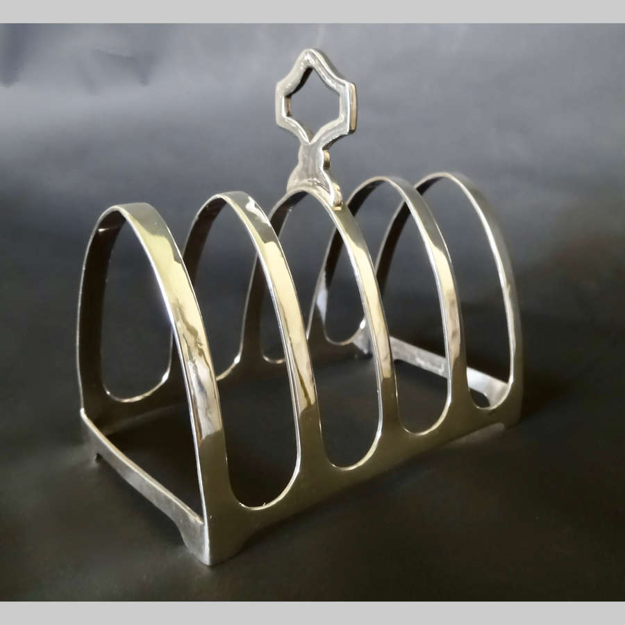 Small vintage Indian silver metal toast rack