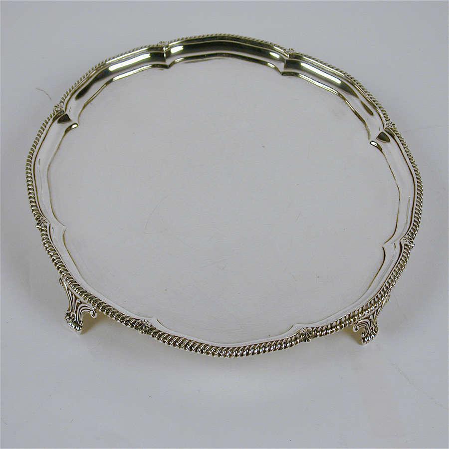 Vintage circular silver salver