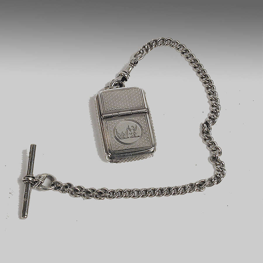 English silver vesta case with cheroot cutter