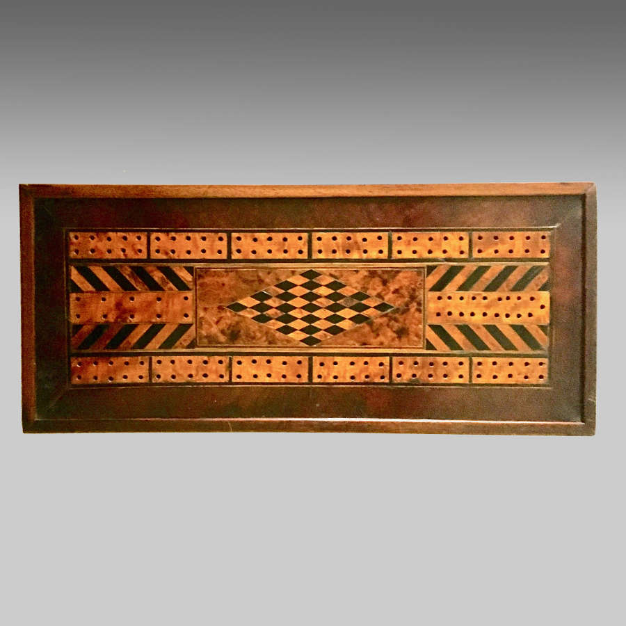 Antique Welsh parquetry inlaid tavern cribbage board