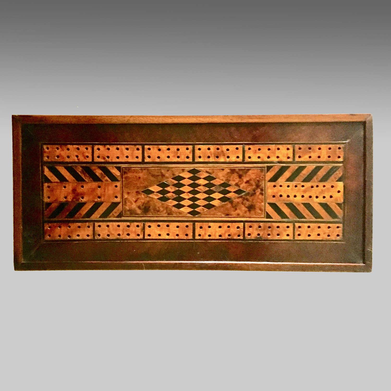 Antique Welsh parquetry inlaid tavern cribbage board