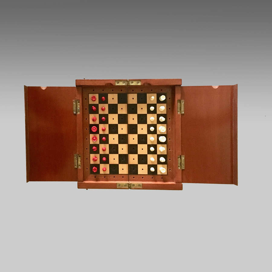 19th century 'The Whittington' mahogany cased travelling chess set
