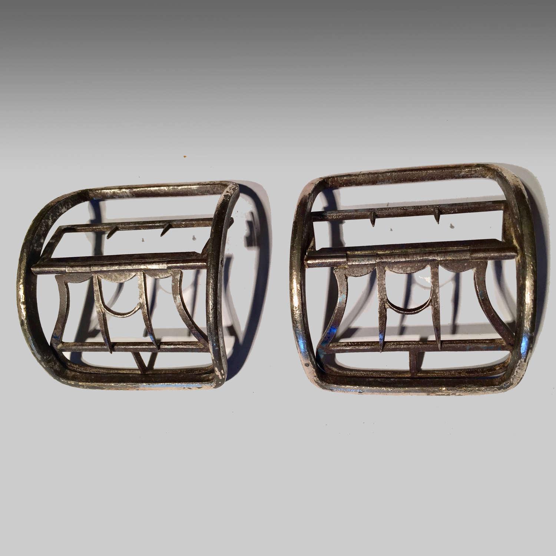 Pair of Georgian cut steel Sheffield plate shoe buckles