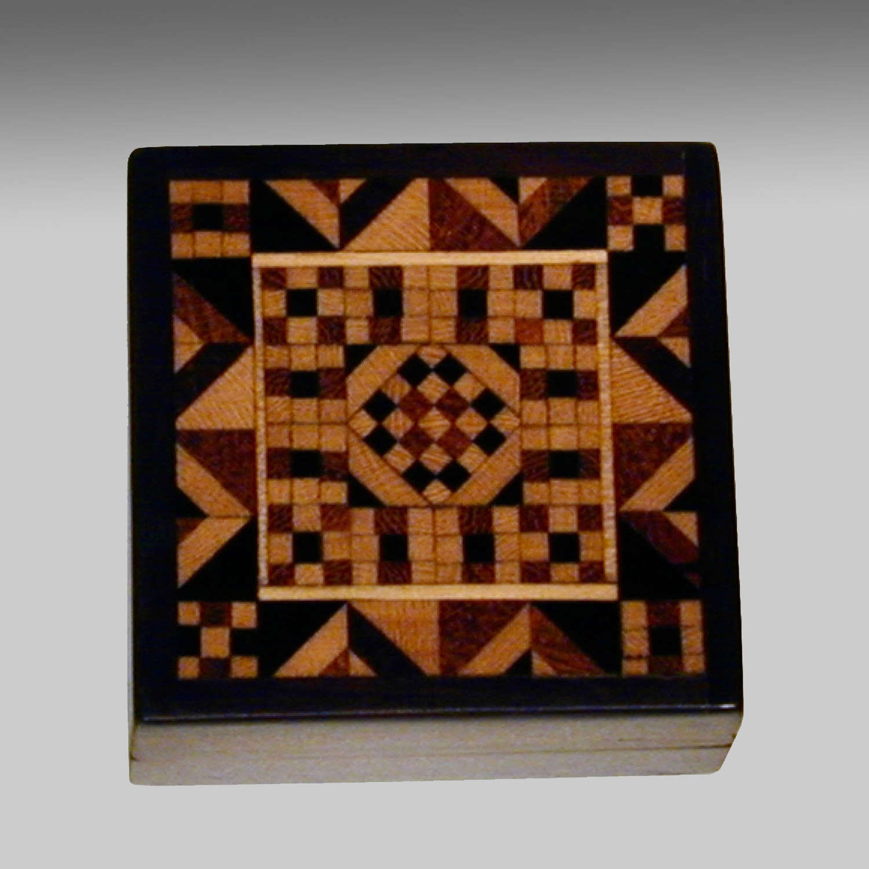 Rosewood Tunbridge-ware stamp box