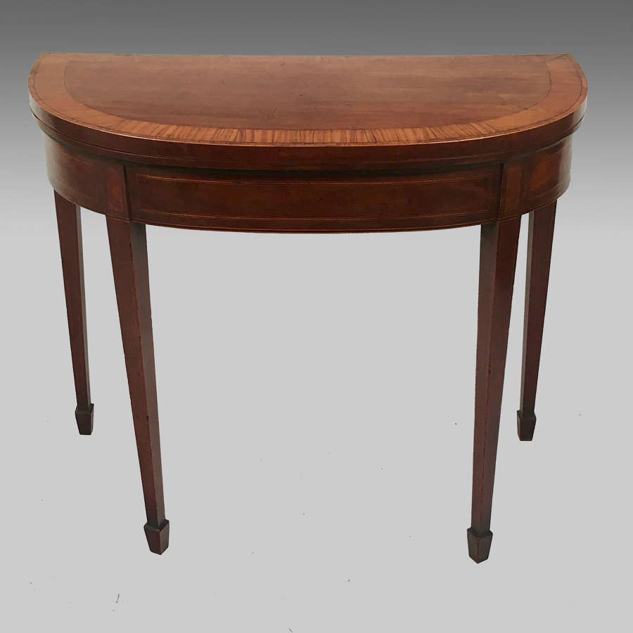 Sheraton mahogany demi-lune card table
