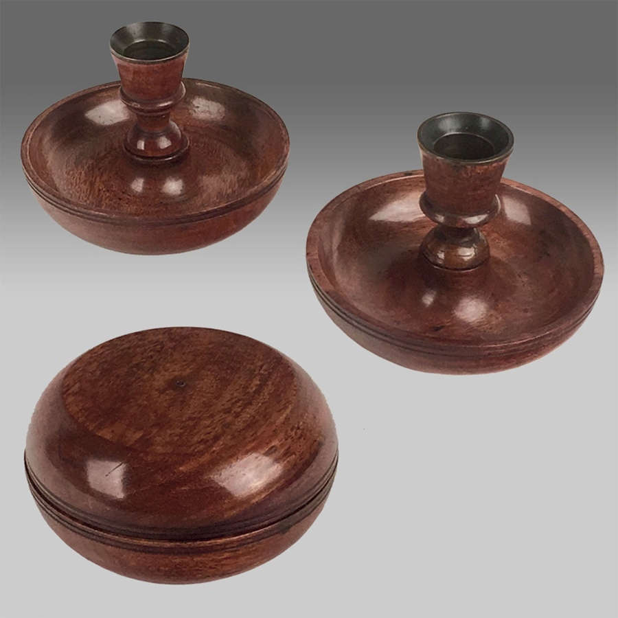 Pair early 19th century treen travelling candlesticks