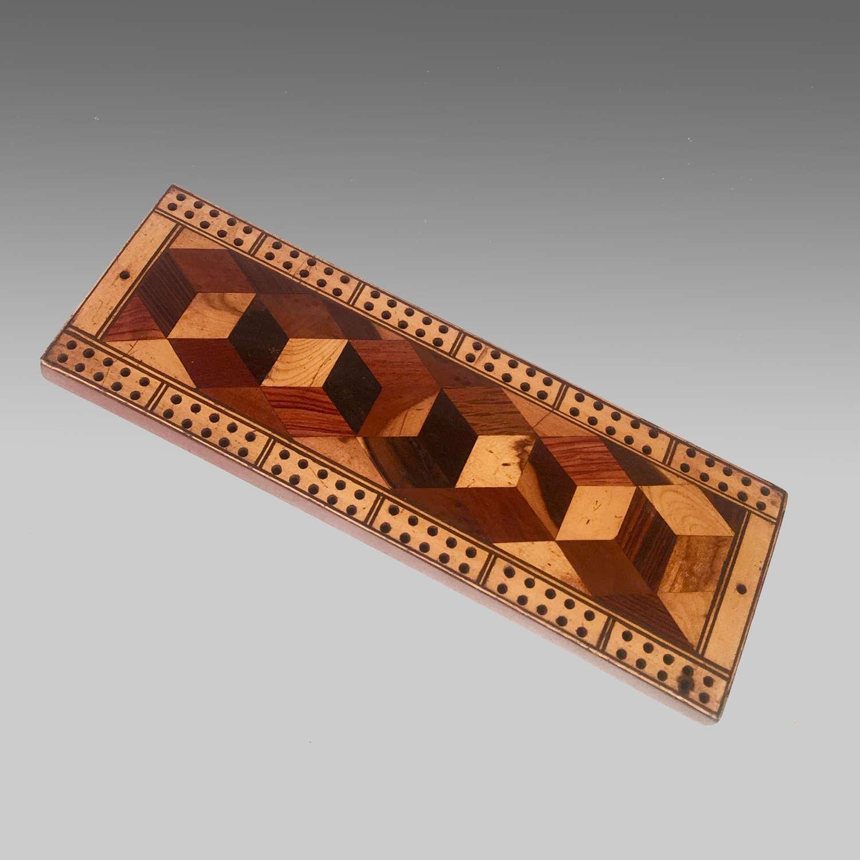 19th century Tunbridgeware cribbage board