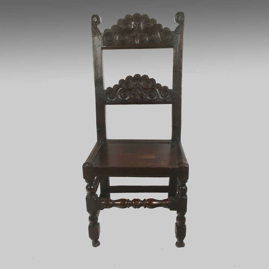 17th century South Yorkshire oak backstool