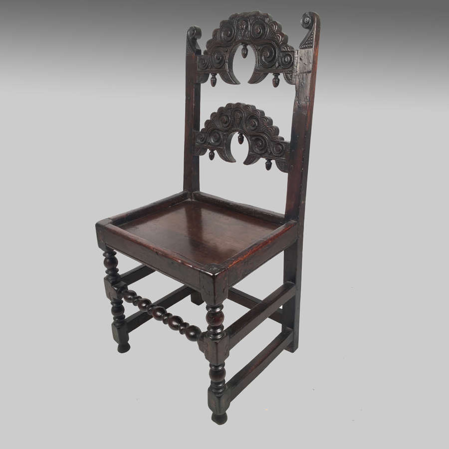17th century South Yorkshire oak backstool