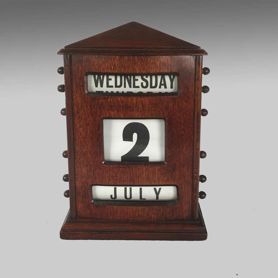 Large Edwardian mahogany cased perpetual calendar