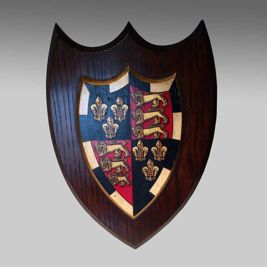 Vintage oak armorial shield for St. John's College, Cambridge