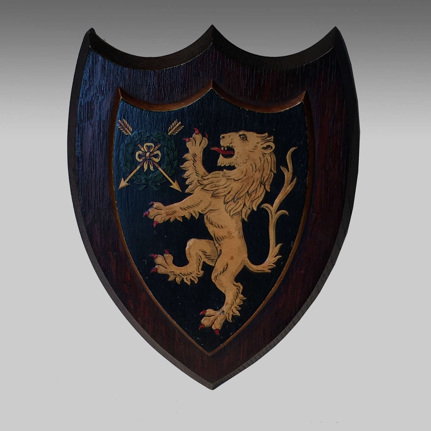 Vintage armorial oak shield for for Emmanuel College, Cambridge