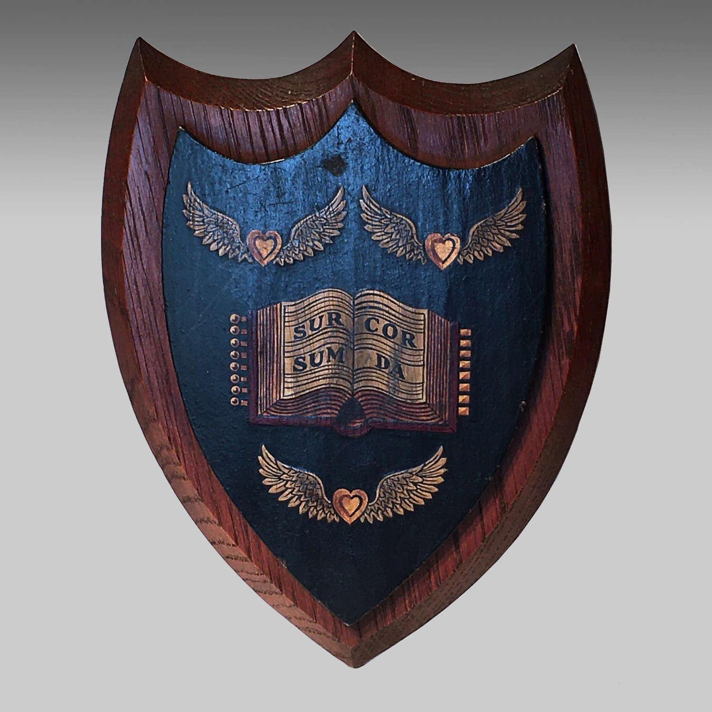 Vintage oak armorial shield for Haileybury College, Hertfordshire