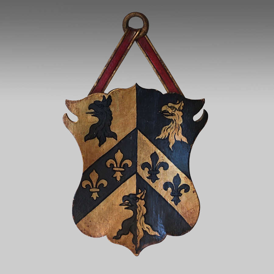 Vintage armorial oak shield for Trinity College, Oxford