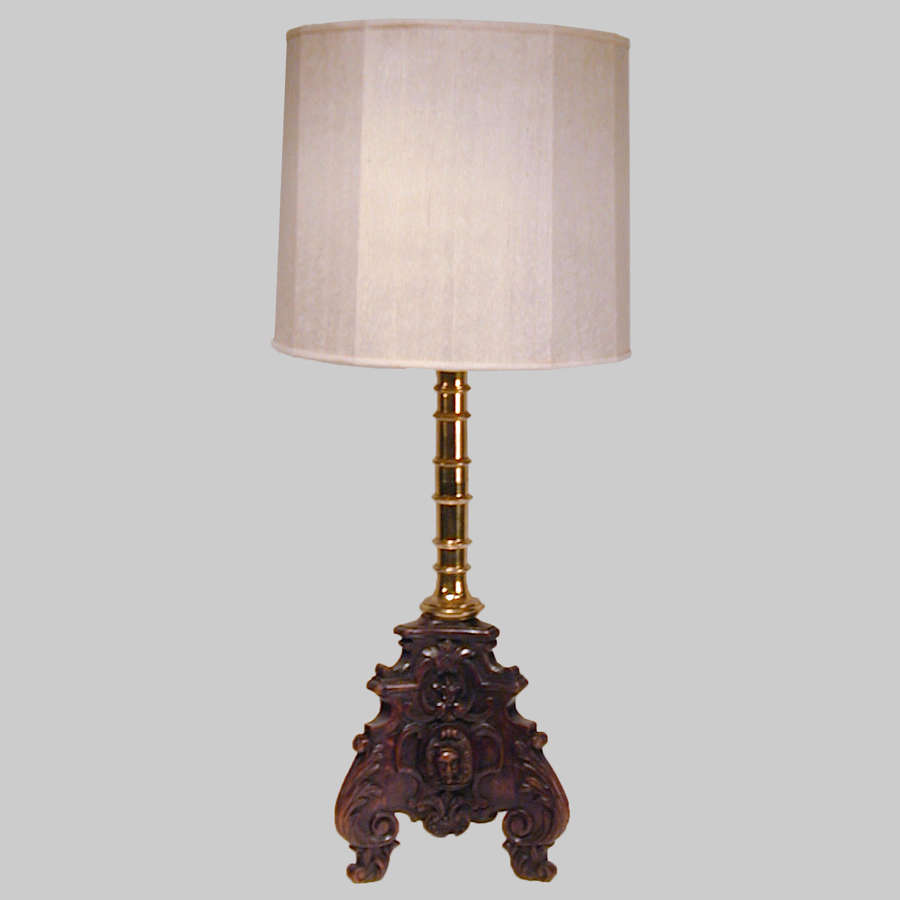 Oak and brass table lamp